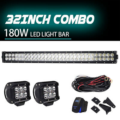 "32inch 180W LED Light Bar Spot Flood Off-road+2*4""18W+Wiring Harness Kit"
