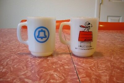 Fire King Anchor Hocking Mug Peanuts Snoopy CURSE YOU RED BARON! BELL SYSTEM