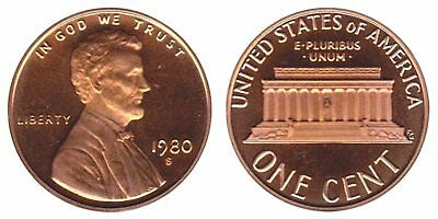 1980 Pennies Usa Lincoln Memorial Roll One Cent Coins Abraham 1 Cent Mint Roll