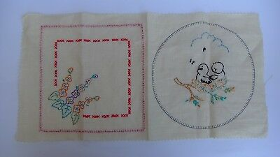 Vintage Linen Embroidery Panels