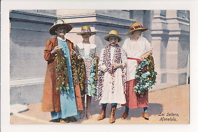 "Antique Rare ""lei Sellers Honolulu"" Steamships Hawaii Early 1900's Postcard"