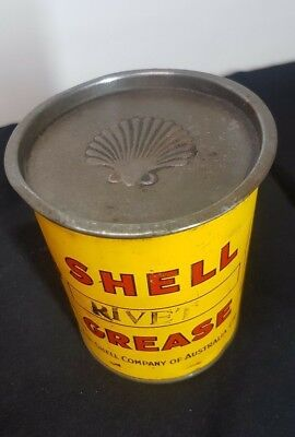 ANTIQUE AUSTRALIAN SHELL MOTOR OIL Co RIVET GREASE 1lb LIDDED TIN VINTAGE CAN
