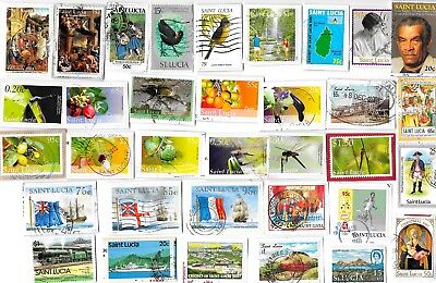 SAINT LUCIA - Selection of Stamps on Paper from Kiloware - Approx 15 Grams