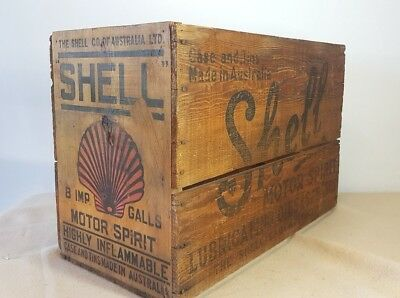 VINTAGE SHELL OIL Co AUSTRALIA MOTOR SPIRITS GREASE CASE & TINS WOOD CRATE BOX