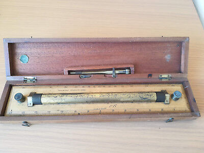 Vintage Brass Rolling Parallel Ruler with dividers and wooden box