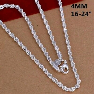 """Mens Womens 925 Sterling Silver 4mm Twisted Rope Chain Necklace 16"""" - 24"""""""