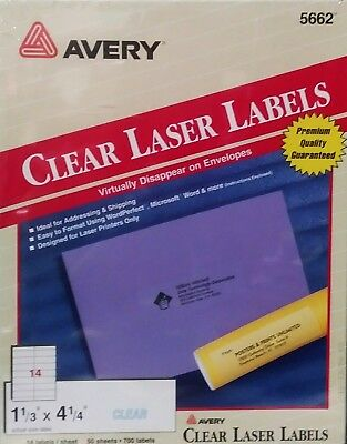 Avery Clear Easy Peel Address Labels 5662 Laser 700 Labels 1484