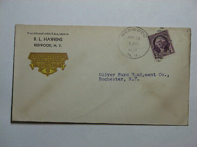 NEW YORK, REDWOOD COVER TO ROCHESTER, NY MAY 28, 1938 w/#720 STAMP & DUPLEX KILL