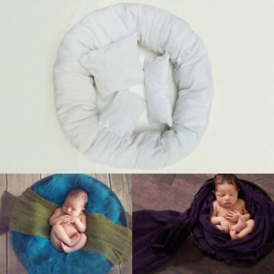 4PCS Newborn Baby Photography Pillow Basket Filler Wheat Donut Posing Props BO