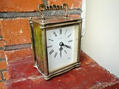 Smiths Astral Old Silver Plated Heavy Quartz Carriage Clock