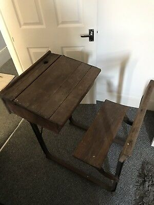 Vintage School Desk And Fixed Chair