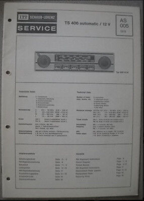 ITT Original Service  Handbuch Manual Autoradio TS 406 automatic /12 V