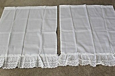 Pair of Vintage White Linen Country Eyelet Ruffled Curtain Panels