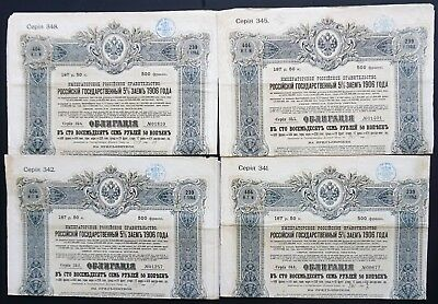 Russia - Russian Imperial Government - 1906 - 5% bond for 187,50 roubles (4x)