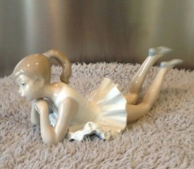 NAO  by Lladro Porcelain 'Pensive Ballet' Figure No 149 ~ Ballerina laying Down