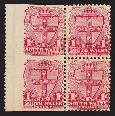New South Wales 1899 Arms 1d carmine block ERROR IMPERF CAT £1000