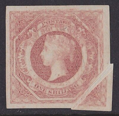 New South Wales : 1854 QV Diadem 1/- Imperf Plate PROOF VARIETY PAPER FOLD .