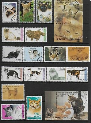 Cats On Stamps And Mini Sheets Good Condition Cto 2 Scans