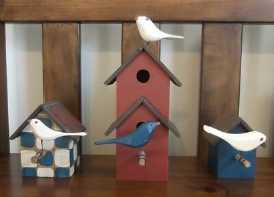 3 Decorative Birdhouses with wooden birds, Americana Style - Must see!