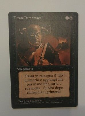1x FBB Demonic Tutor - Tutore Demoniaco Italian Black Border MTG EX Excellent