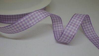 Lilac Gingham Check Ribbon, 11mm wide in 2m or 5m cut lengths - free postage