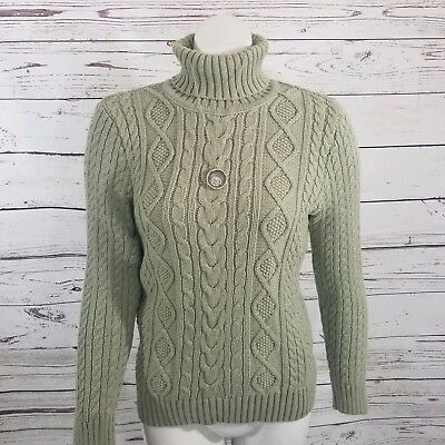 ff6d3d3941 Jeanne Pierre Womens Turtleneck Sweater Size Medium Olive Green Taupe Cable  Knit