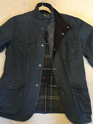 Barbour Ogston Waxed Jacket, Navy Large