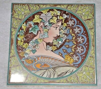 Vintage Art Nouveau Pottery 6in.  Tile  , made in Holland