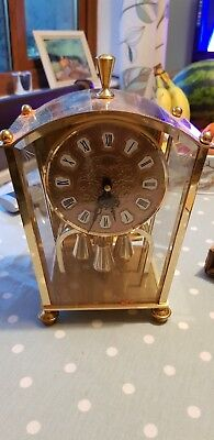 "Vintage ""koma"" German Anniversary/carriage Clock.bevelled Glass Panels.400 Day"