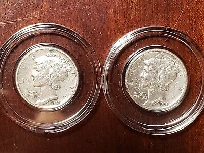 90% Silver Mercury Dime Almost Uncirculated