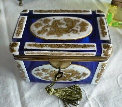 Antique Bohemian Overlay Glass Casket/Box Mid 19th C Circa