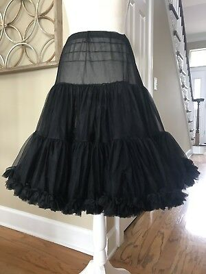 Black Square Dance Petticoat Skirt Crinoline Rockabilly Swing Circle Pin Up