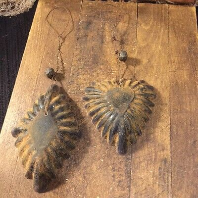 Primitive TWO Blackened Wax Grubby Heart Ornaments Farmhouse Cabin Christmas