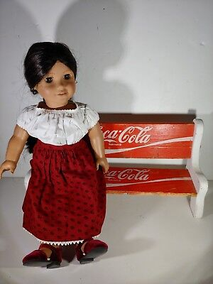 Enjoy Coca-Cola Advertising Doll Sized Bench -Vintage  Red Wood Crate Slats