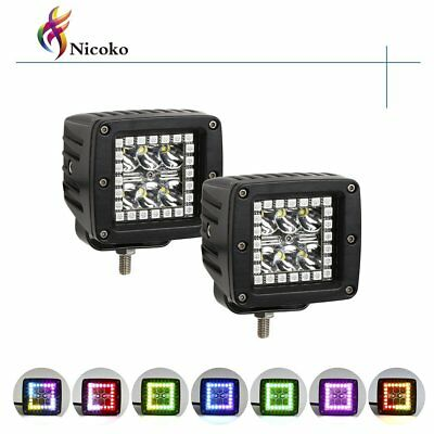 """Pack 2 Nicoko 3"""" 18w led work light bar square pods with RGB Chasing Halo 10 ..."""