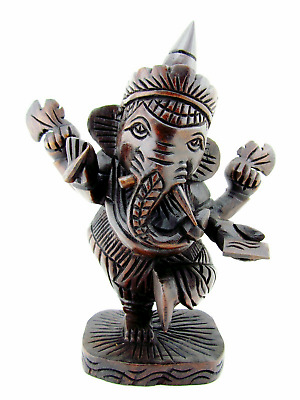 Large Ganesha Statue Wood Ganesh Carving Teak Hand Carved Elephant Hindu God 10""