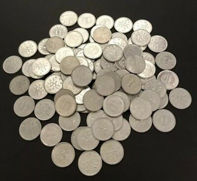 100 Assorted Circulated Japanese 1 Yen Lucky Coins Japan  Money Nippon