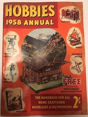 Vintage Hobbies Annual 1958 & Free Plan, 170 Pages Paperback Very Retro Magazine