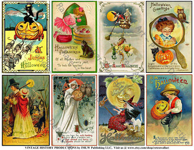 Halloween Holiday Postcard Tag Reproduction Stickers, Vintage Witch, 1 Sheet