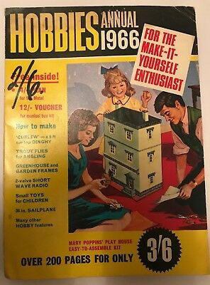 Vintage Hobbies Annual 1966 & Free Plan, 194 Pages Paperback Very Retro Magazine