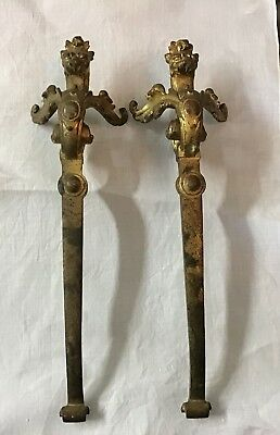 "Pair of Antique Figural 9-3/4"" Griffin, Lion Pulls, Handles, Gold Wash"