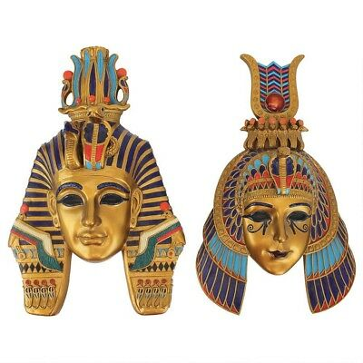 Ancient Egyptian King & Queen Revival sculptural Wall Masks (Set of 2)