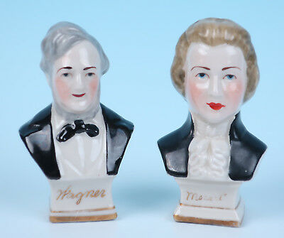 Antique Richard Wagner Mozart German Porcelain Busts Figurine Classical Composer