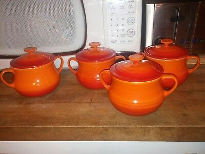 LE CREUSET 4 Red Orange Mini Bean Pot ,Soups ,Stews Chili Bowls  Lids Stoneware