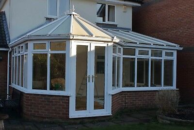Used white UPVC Conservatory & blinds: 5.84m x 3.2m plus 1m bay. Good condition