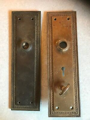 Antique Matching Bronze Lydia Door Plates Vintage Hardware