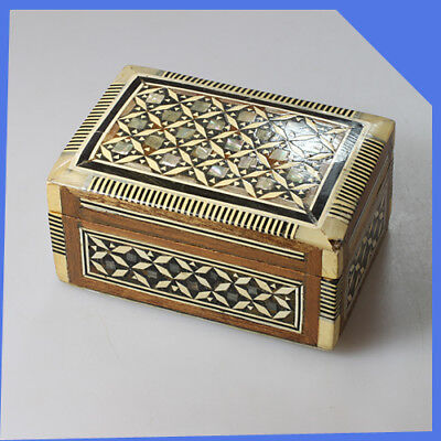 vintage old England Wooden Storage Jewellery Trinket Box Casket Chest Ornaments