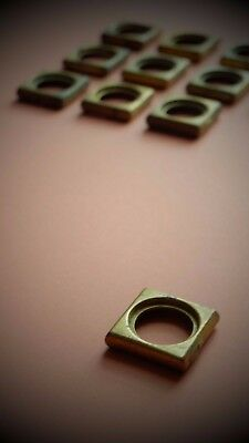 """Vintage solid brass 1 1/2"""" square castor wheel cup screw rings several available"""