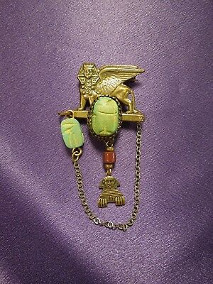 Egyptian Revival Scarab Sphinx W/ Chain Vintage Brooch Pin