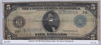 1914 $5 Large Bill Federal Reserve Note